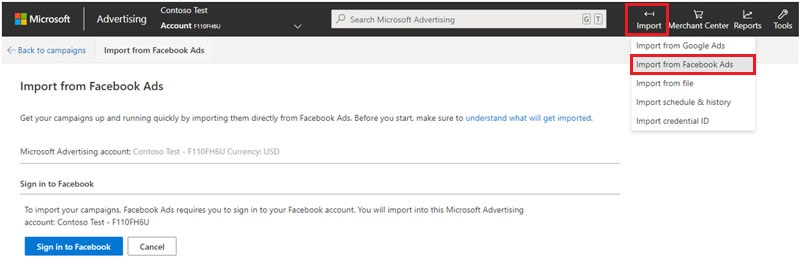 import Facebook ads into Microsoft Bing Advertising