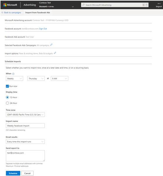 Run or schedule Facebook Ads import in Microsoft Advertising